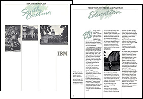 Two formatted pages from IBM corporate report on their support for communities